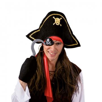 4-tlg. Piraten Set mit Perücke