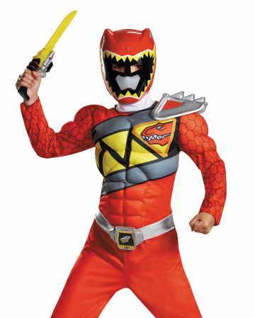 Roter Power Ranger Dino Charge Muskel Kostüm