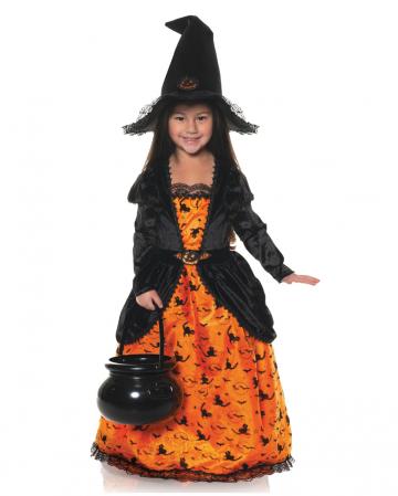 Kürbis Hexe mit Hut Kinderkostüm
