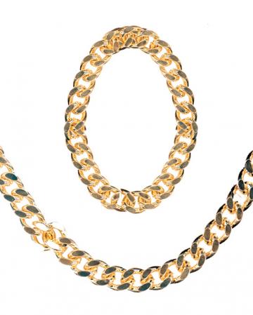 Rapper gold necklace and bracelet