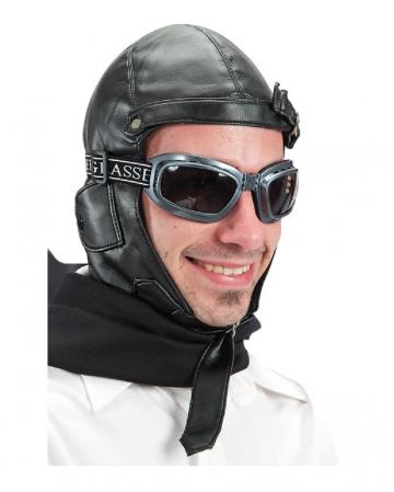 Schwarze Retro Fliegermütze