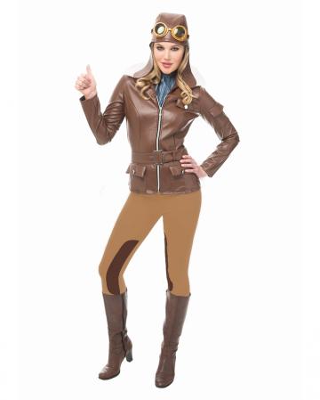 Vintage Pilotin Kostüm mit Mütze