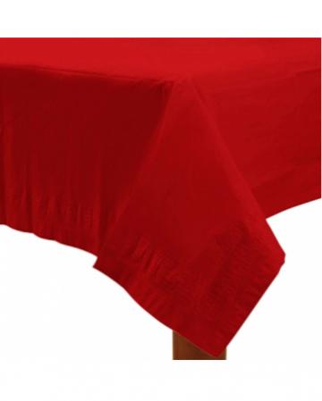 Rote Tischdecke aus Papier 1,37 x 2,74 m