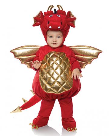 Drachen Kleinkinderkostüm rot-gold