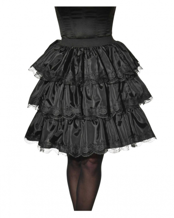 Ruffled Skirt With Lace Black
