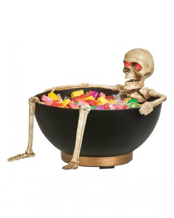 Creepy Bonbonschüssel mit sich bewegendem Skelett