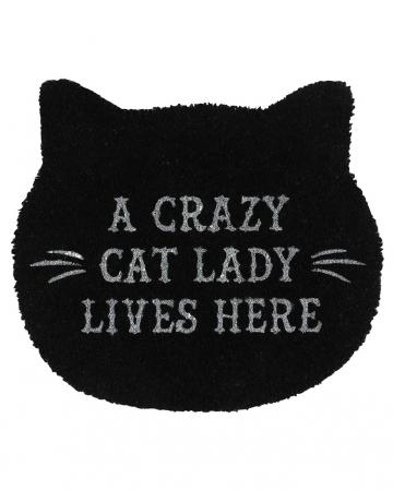 Schwarze Cat Lady Türmatte in Katzenform