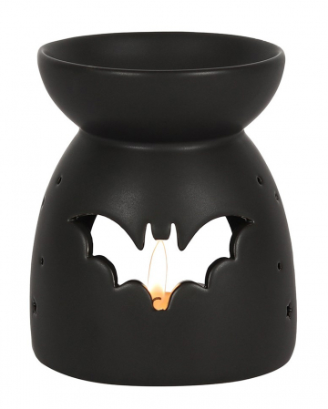 Schwarzer Duftöl Teelichthalter mit Fledermaus Motiv