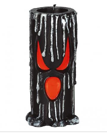 Schwarze Halloween Kerze mit Geister Fratze 15cm