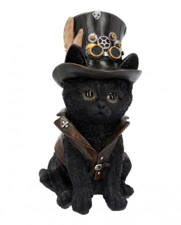 Schwarze Steampunk Katze mit Zylinder 18,5cm