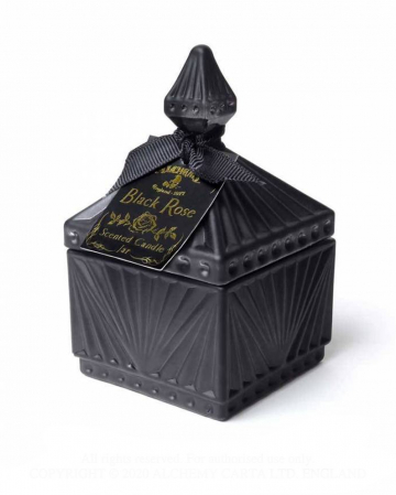 Black Rose Gothic Scented Candle In Vintage Glass Small