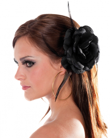 Black Rose With Hair Clip & Hair Tie