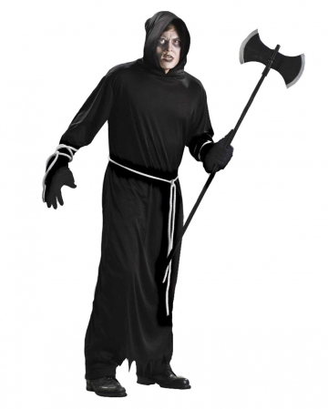 Schwarzes Sensenmann Kostüm mit Kapuze