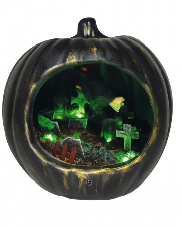 Black Halloween Pumpkin With Witches Scenario
