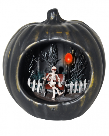 Black Halloween Pumpkin With Skeleton Scenario