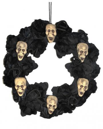 Halloween Dekokranz mit Rosen & Totenschädeln