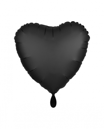 Black Heart Foil Balloon Satin Optics