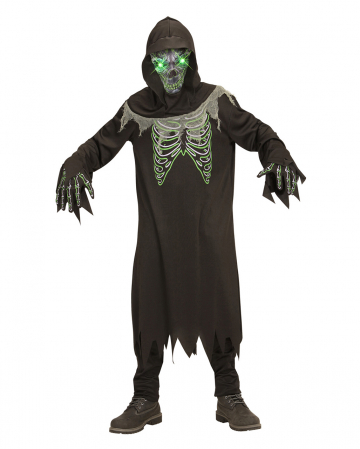 Grim Reaper Children Costume With Bright Green Eyes