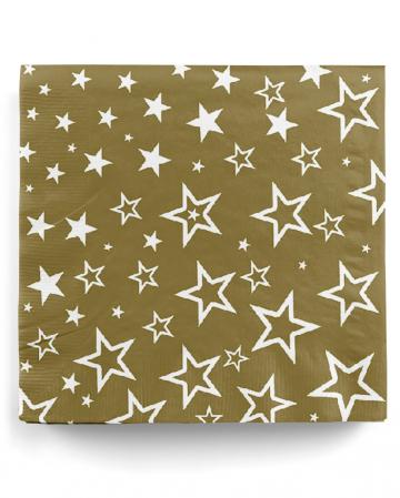 20 Goldene Einweg Servietten mit Sternen