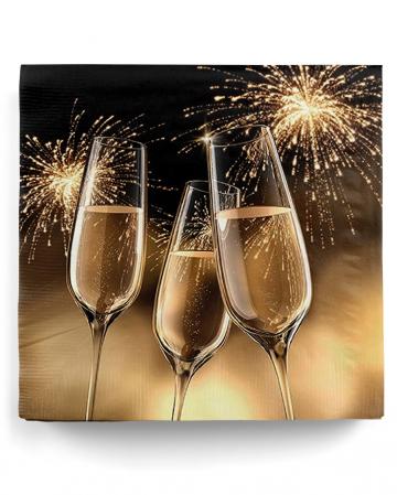 20 goldene Party-Servietten mit Sektgläsern