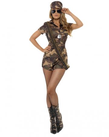 Sexy Soldatin mit Shorts Kostüm