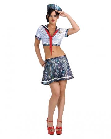 Sexy Glitzer Matrosin Kostüm