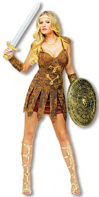 Sexy Gladiatorin Kostüm Braun