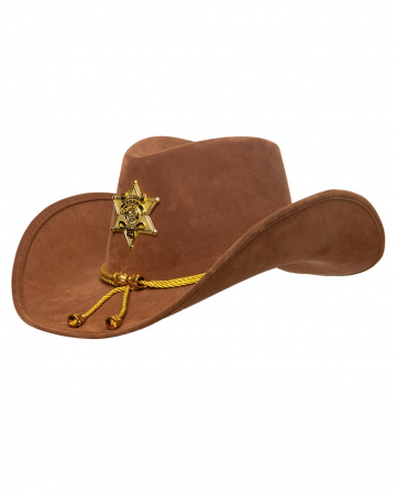 Brown Sheriff Hat With Star & Gold Tassels