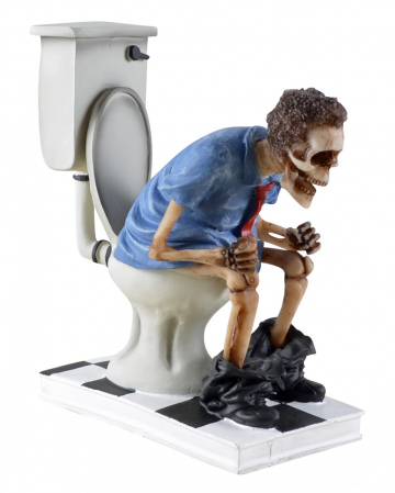 """S(h)it too long"" Skelett auf WC sitzend"