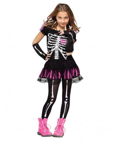 Skelettina Mädchenkostüm