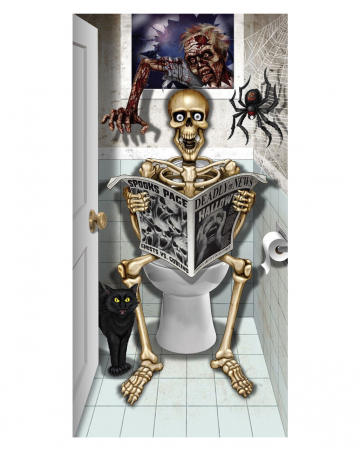 Skeleton Sitting On WC Door Foil