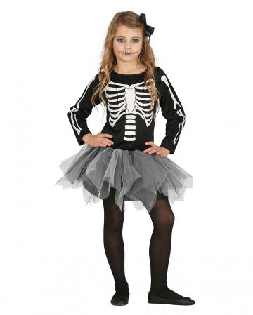 Skelett Tänzerin mit Tutu Kinderkostüm