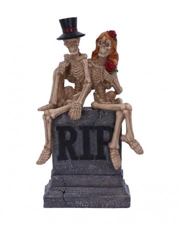 Skeleton Bride And Groom On Gravestone 17cm