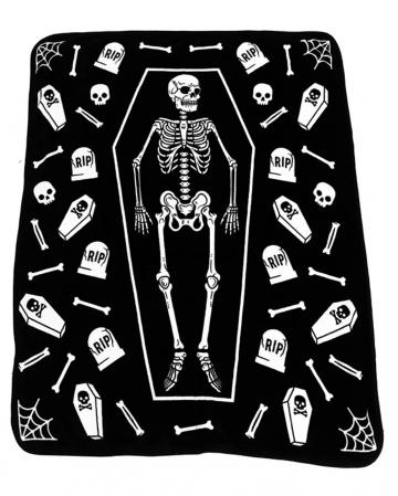 Skelett mit Grabsteinen Kuscheldecke