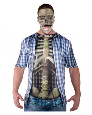 Skelett Oberkörper Shirt blau/weiß