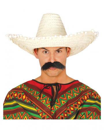 Mexikaner Sombrero beige mit Bommeln