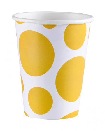 Summer Yellow Dots Paper Cups 8 Pcs.