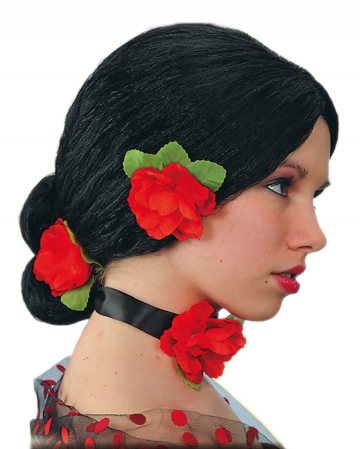 Spanish Woman Wig With Roses