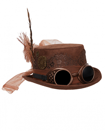 Steampunk Hat With Goggles Brown