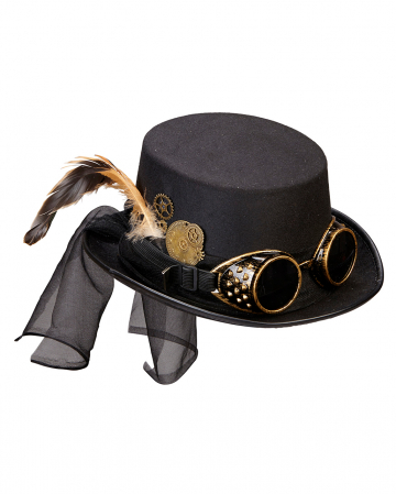 Steampunk Costume Top Hat With Flying Glasses