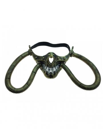 Steampunk Skull Half Mask With Hose