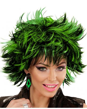 Steamy Damenperücke Schwarz-Grün für Karneval