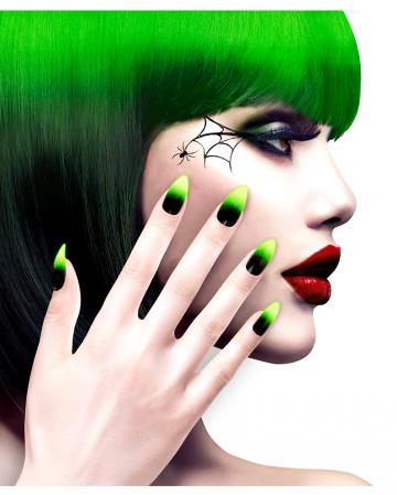 Stiletto Fingernägel Neongrün / Schwarz 12 St.