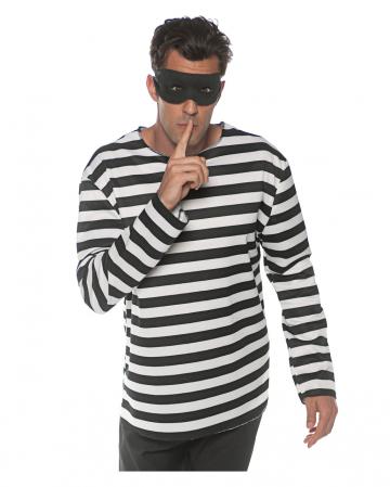 Sträfling Kostüm Longsleeve mit Maske
