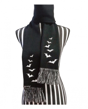 Knitted Scarf With Bat Motif & Fringes