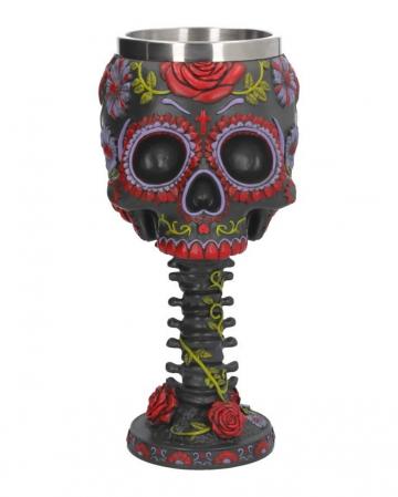Sugar Skull Goblet With Flower Ornament