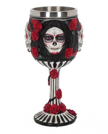 Sugar Skull Trinkkelch mit Rosen