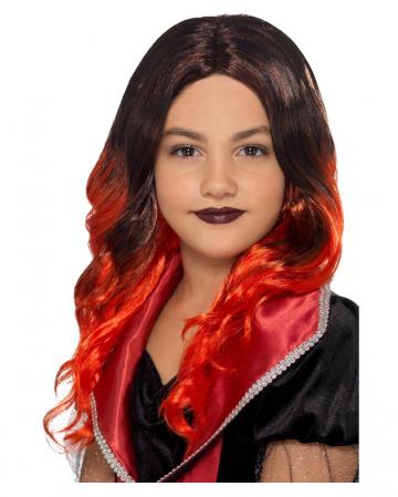 Devil Kids Wig Black-red
