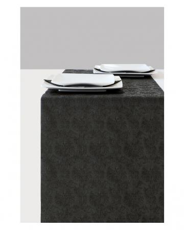 Table Runner Elegance Ornament Black 6m