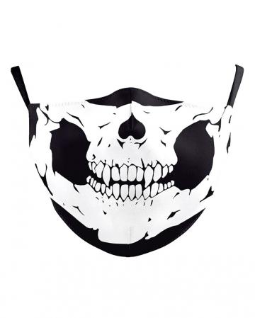 Totenschädel Stoffmaske 2-lagig mit Filtertasche